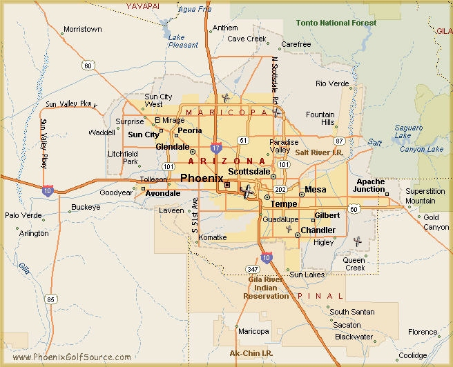 A Map Of Phoenix Arizona.Arizona Golf Phoenix Golf Courses Scottsdale Golf Courses